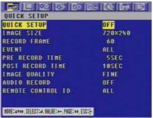 MPEG4 Quick Setup Screen