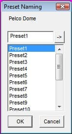 PTZ Preset Naming Menu