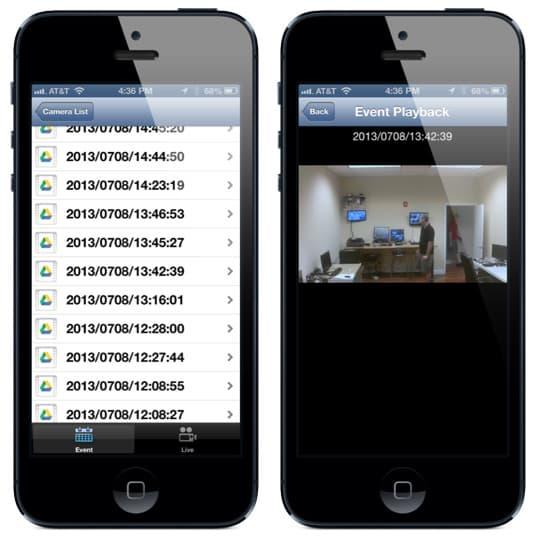 iPhone App Cloud Surveillance Video Playback