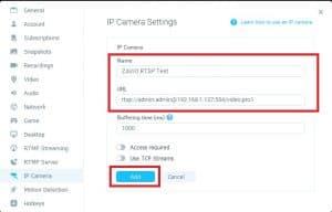 Add IP RTSP manycam