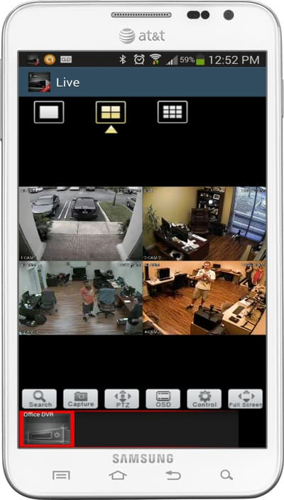 Android DVR Viewer App 4 CCTV Cameras
