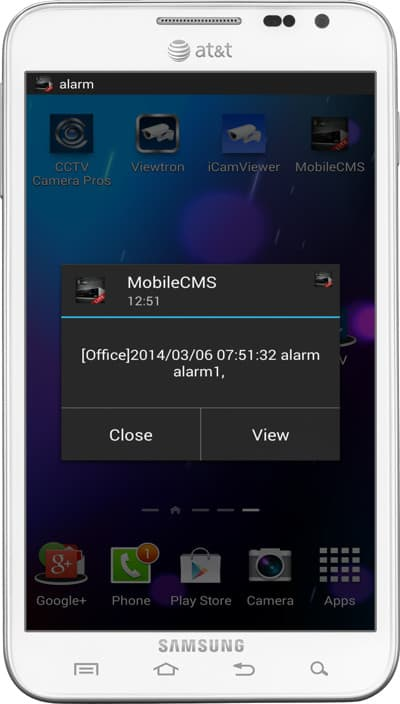 CCTV Camera Push Notification App Android Mobile