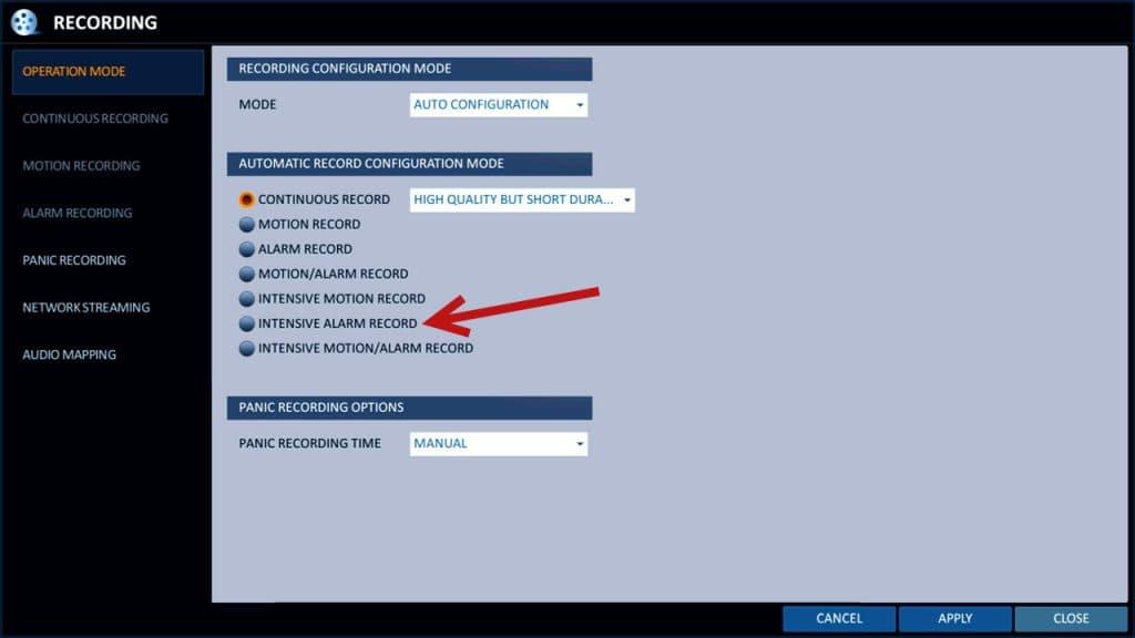 CCTV DVR Alarm Input recording
