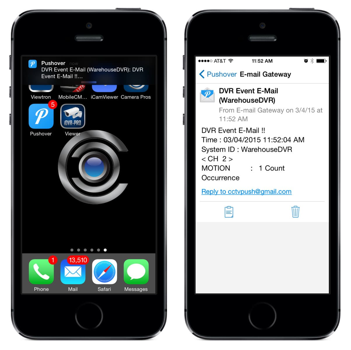 CCTV DVR Push Notification iOS