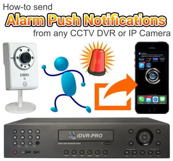 Send Security Alarm Push Notifications from any CCTV DVR or IP Camera