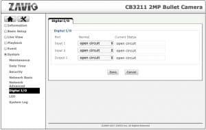 IP Camera alarm input output