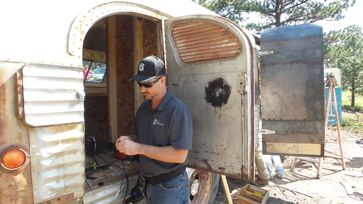 Restoration Wild Bus Episode Mike Haldas installing CCTV cameras