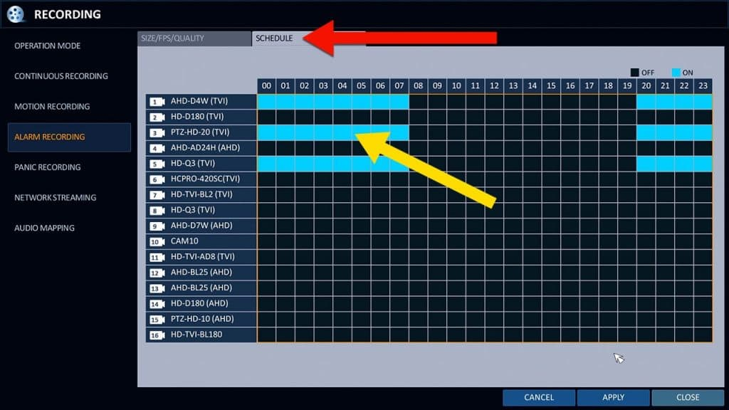alarm sensor recording schedule