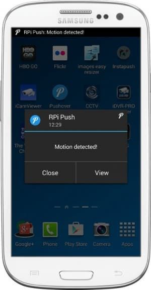 Android motion detection push notification