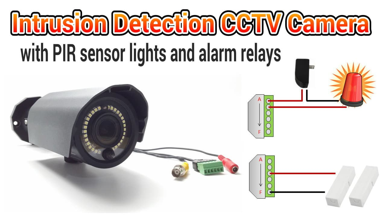 CCTV camera with PIR Motion Sensor Light and Alarm Relay