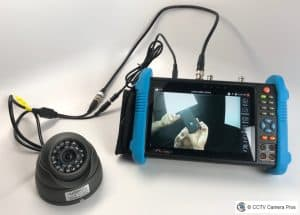 This is a CCTV test monitor connected to a CCTV camera using BNC coax cable