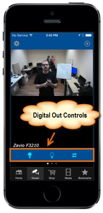 iPhone app digital output controls