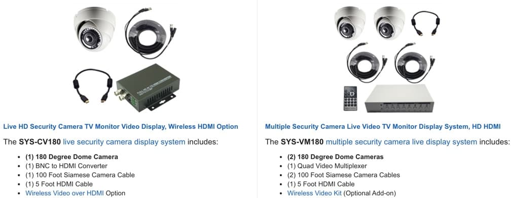 Live Security Camera TV Display Systems
