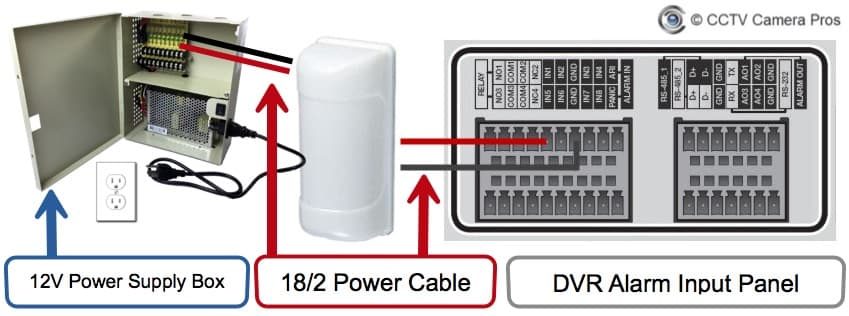 motion detector installation wiring diagram to security camera power supply box