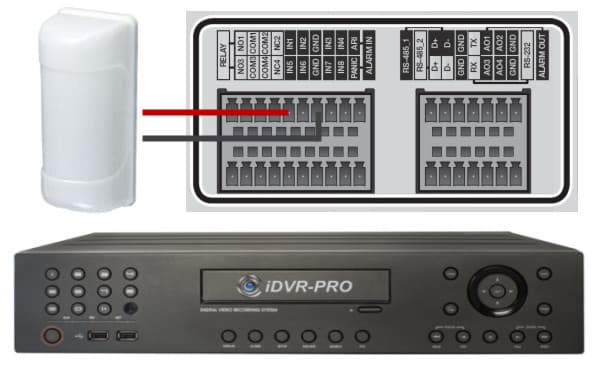 motion sensor CCTV DVR wiring setup