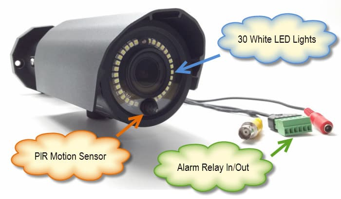 Surveillance Camera with Alarm Relay PIR Sensor