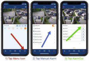 trigger DVR Alarm output iPhone app