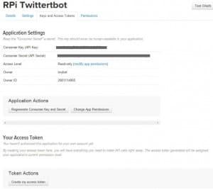 twitter app setup keys